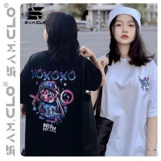 Áo thun tay lỡ nữ freesize phông form rộng Unisex, mặc cặp, nhóm, lớp in hình cô gái chữ NOW CARO XO thumbnail