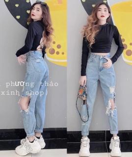 [HCM]Quần baggy jean quần bò chất vải cao cấp chất lượng thời trang trẻ trung lưng cao 1990STORE MS826 thumbnail