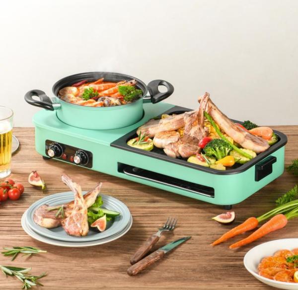 [CHÍNH HÃNG] Bếp lẩu nướng 2 ngăn dài nội địa Trung có thể tháo rời vệ sinh dễ dàng DKS303