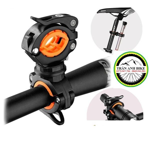 Giá đỡ kẹp đèn pin xe đạp xoay 360 2 đầu