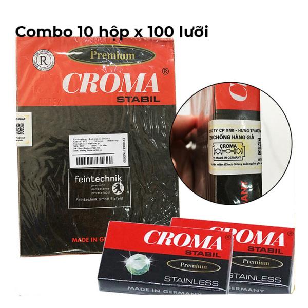(Date : 10 năm) [ CƠ CHẾ 4 LỚP SIÊU BÉN ] Combo 10 hộp x 100 lưỡi lam, dao lam Croma Đức.