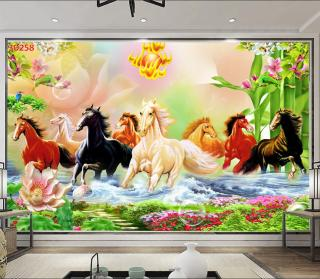 Tranh dán tường 3D Phòng Khách,Mã Đáo Thành Công, 258 thumbnail