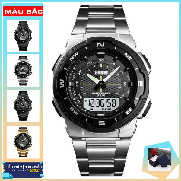 Đồng hồ nam dây thép không gỉ thể thao Skmei 1370 nam tính (Silver & Black) bán chạy