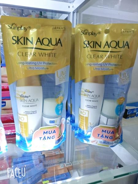 Sữa chống nắng Sunplay Skin Aqua UV Moisture SPF50+ PA+++ 30g - Tặng 1 Dung dịch dưỡng Hada Labo Advanced Nourish 40ml nhập khẩu