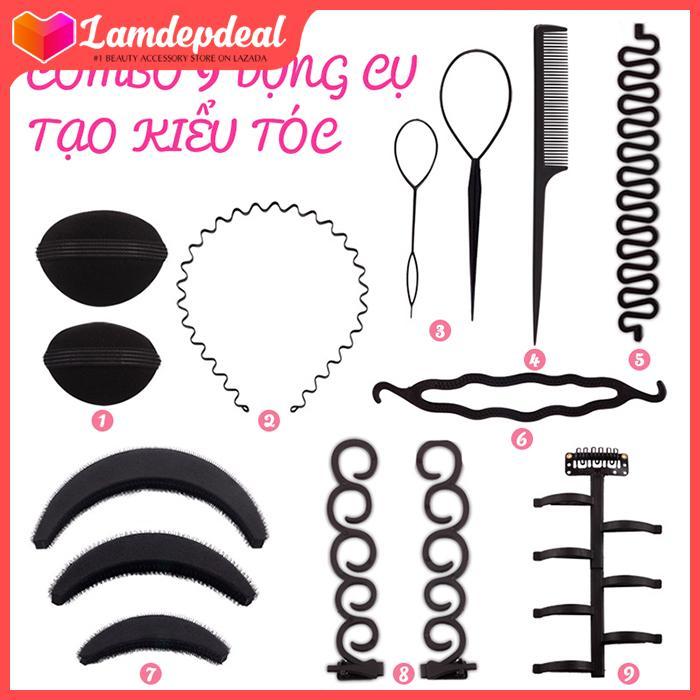 Lamdepdeal - Combo 9 dụng cụ tạo kiểu tóc đa năng - Dụng cụ làm tóc, tết tóc, thắt bím tóc, bộ phụ kiện đầy đủ nhất, có video hướng dẫn - Dụng cụ làm tóc - Lamdepdeal tốt nhất