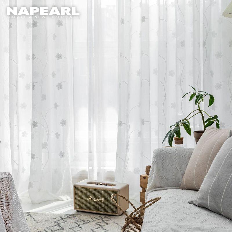 Napearl  rèm cửa Rèm vải tuyn Hình hoa nhỏ đáng yêu đơn giản sheer cho phòng khách  1 CÁI