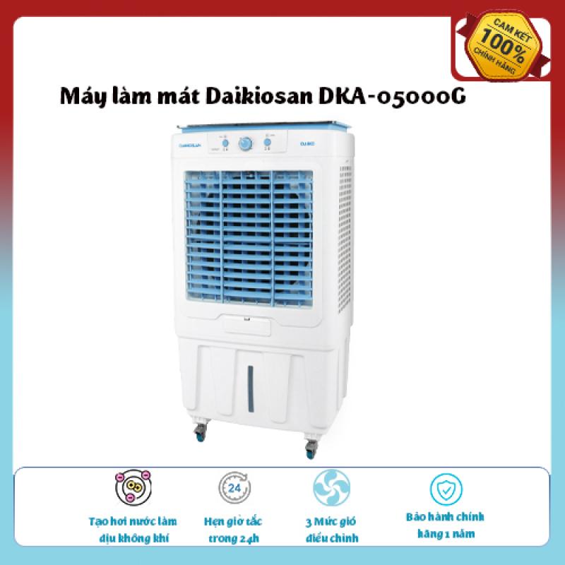 Máy làm mát Daikiosan DKA-05000G-Loại quạt: Quạt điều hòa ,diện tích làm mát 30 – 40 m2., Tạo hơi nước làm dịu không khí,Tốc độ gió: 3 mức, hàng chính hãng giá ưu đãi