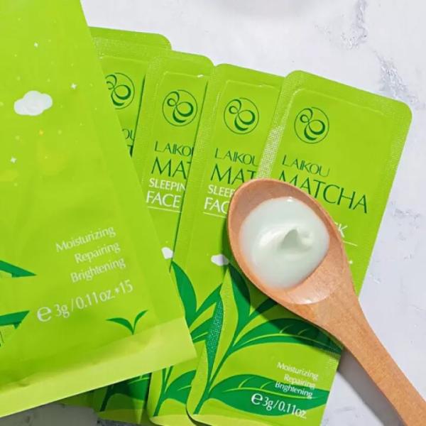 15 gói mặt nạ ngủ trà xanh Matcha Laikou dưỡng da mụn cấp ẩm thải độc trắng sáng da