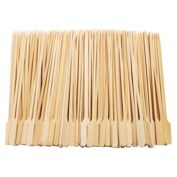 500Pcs Bamboo Paddle Skewers Barbecue Bamboo Skewers Cocktail Sticks for Barbeque Kebabs Cocktails Buffets Party 12cm