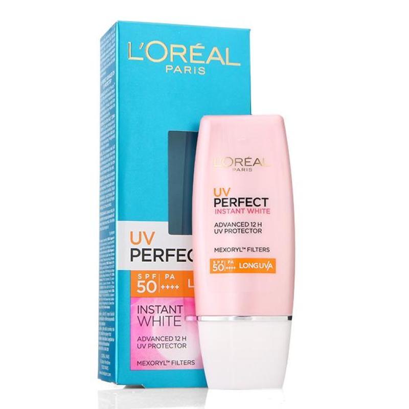 Kem chống nắng LOreal  UV Perfect Instant White - Chống nắng & Dưỡng trắng, làm sáng da (Màu hồng): nhập khẩu