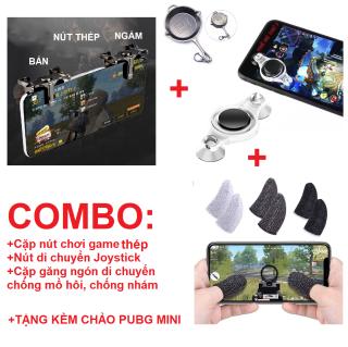 [COMBO] Trọn bộ phu kiện chơi game mobile Pubg Free Fire chuyên dụng Nút chơi game thép Bao tay chống mồ hôi chơi game pubg mobile, free fire, liên quân mobile Găng tay cảm ứng mượt (Đen) thumbnail