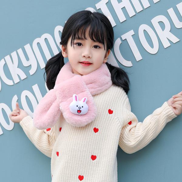 Giá bán Khăn quàng cổ, khoăn choàng cổ lông thỏ nhân tạo gắn thỏ xinh xắn cho bé trai bé gái từ 1 đến 12 tuổi