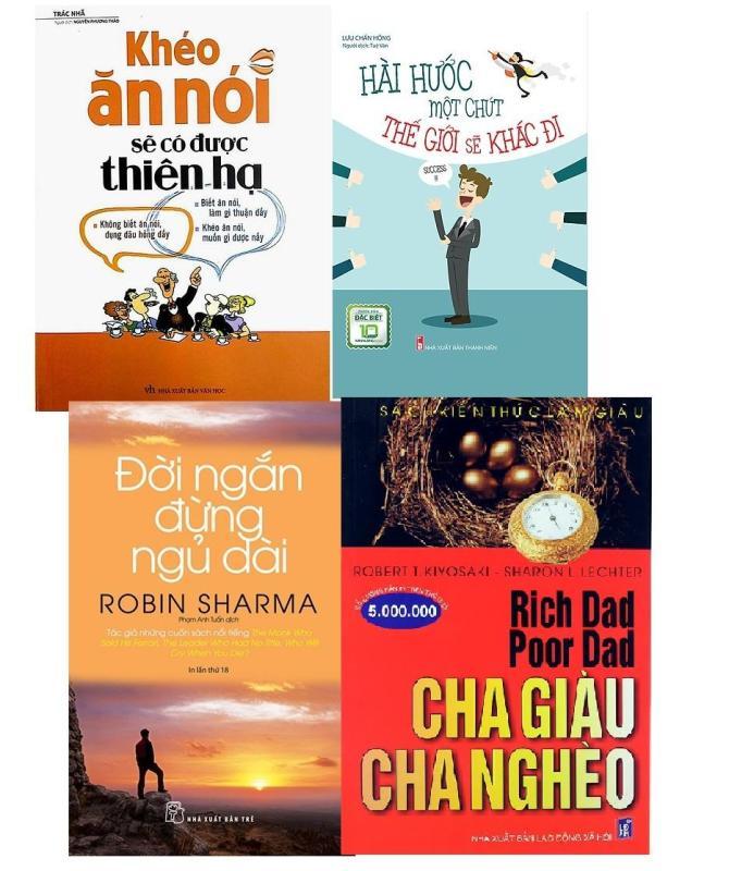 Mua Combo 4 sách: Khéo ăn nói, Hài hước, Đời ngắn đừng ngủ dài, cha giàu cha nghèo