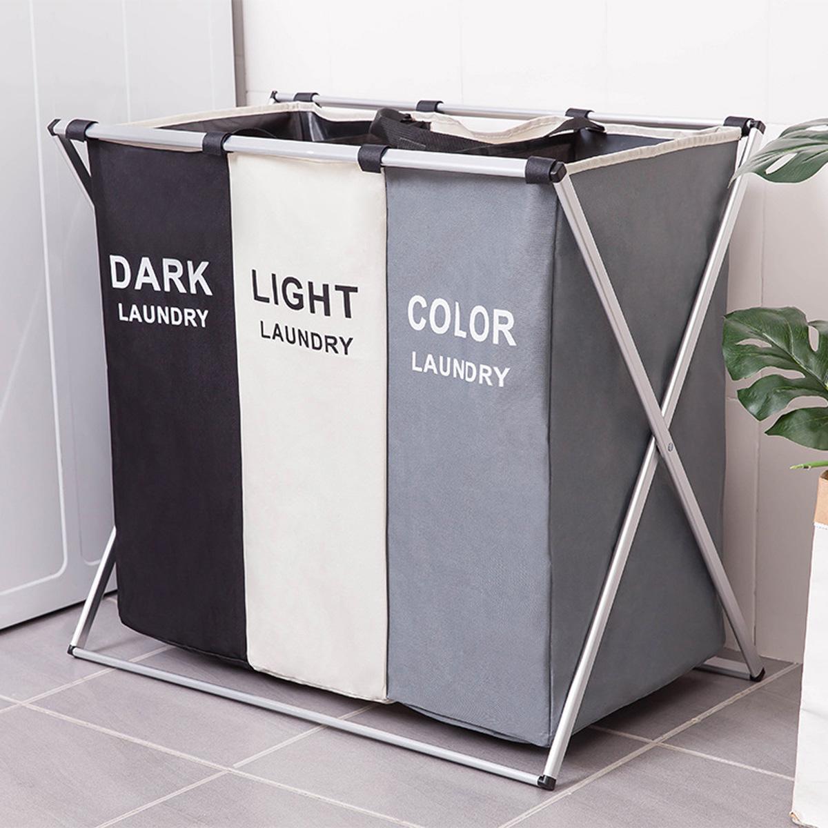 Offer Ưu Đãi Laundry Hamper Foldable Laundry Basket 1/2/3 Section Portable Dirty Cloth Sorter