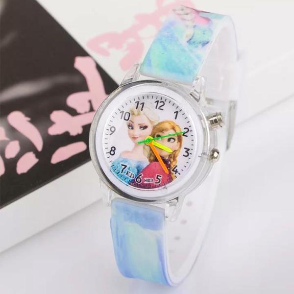 Giá bán Đồng hồ Elsa & Anna dây silicon phát sáng nhiều màu sắc cho bé gái BBShine – DH013
