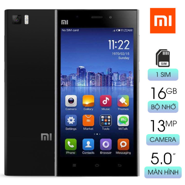 Điện thoại cảm ứng 1 sim giá siêu rẻ Xiaomi MI 3W với 2GB RAM bộ nhớ 16GB màn hình 5 in IPS sắc nét