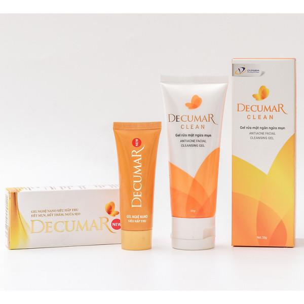 Bộ sản phẩm ngừa mụn sáng da Decumar New 20 gr và Sữa rửa mặt dạng Gel Decumar Clean 50gr
