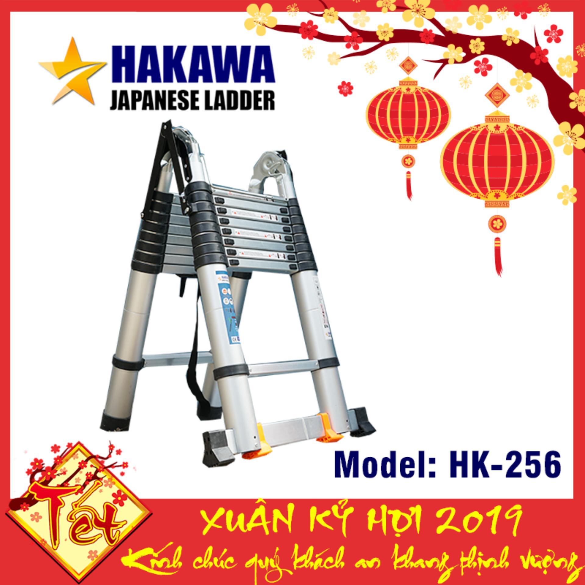 [HAKAWA] Thang nhôm rút chữ a HAKAWA NHẬT BẢN HK256 5m6 - Xếp gọn tiện lợi , dễ dàng di chuyển