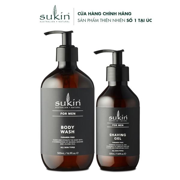 Combo sữa tắm & gel cạo râu cho nam Sukin For Men Body Wash 500ml & Shaving Gel 225ml
