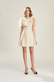 MAVEN - Váy màu be tay lưới đính hoa Butter thumbnail