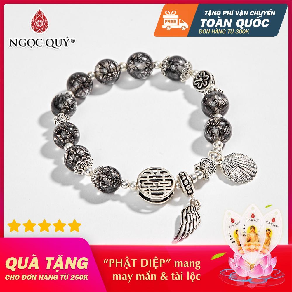 Vòng tay Nữ đá Thạch Anh Tóc Đen AAA phối charm cánh bạc 8mm - Ngọc Quý Gemstones