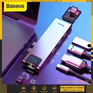 Hub chuyển Baseus Thunderbolt C Pro 7 in 1 Smart Hub cho Macbook Pro 2016 2017 2018 (Type C to C PD, 2x USB 3.0, HDMI 4K - 60Hz, SD Micro SD Card Reader, LAN RJ-45 Expansion Smart Dock) thumbnail