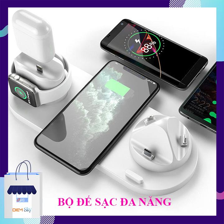 Sạc không dây - Bộ sạc không dây, Đế Sạc nhanh không dây đa năng chuẩn an toàn sạc 6 trong 1 Phù hợp Sạc Điện Thoại Samsung, Iphone, Xiaomi, Oppo - Sạc đồng hồ thông minh Aple Watch, Tai Nghe Airpods...