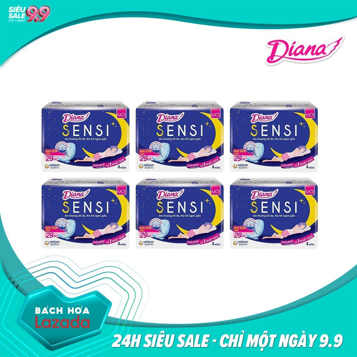 Bộ 6 gói Băng vệ sinh Diana SENSI ban đêm 29cm Gói 4 miếng nhập khẩu