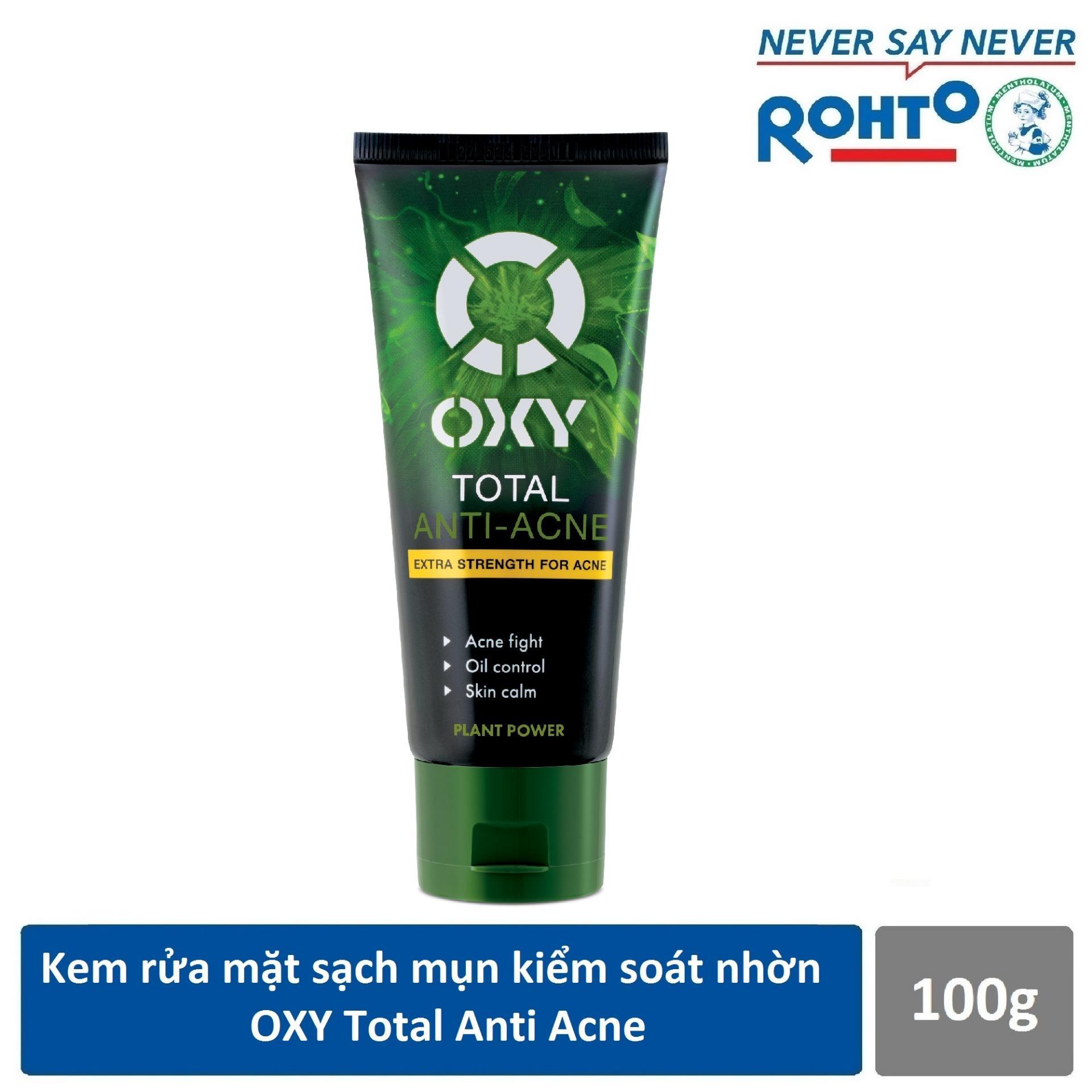 Kem rửa mặt sạch khuẩn mụn kiểm soát nhờn OXY Total Anti Acne 100g