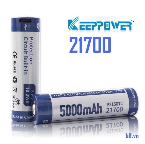 Bảng giá Pin sạc Keeppower P2150TC TYPE C USB 21700 3.6V 5000mAh