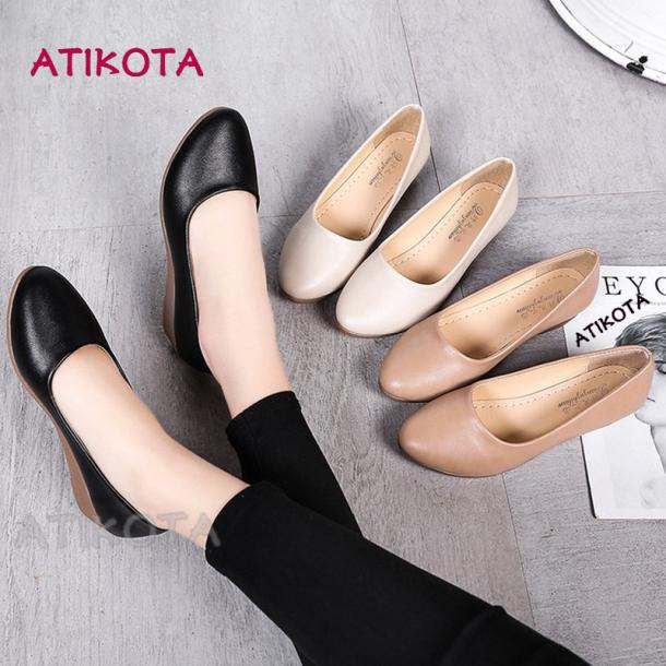 Atikota Phụ Nữ Đóng Cửa Mũi Nêm Nhọn Đế Mềm Giày Dẹt Giày Đơn giá rẻ