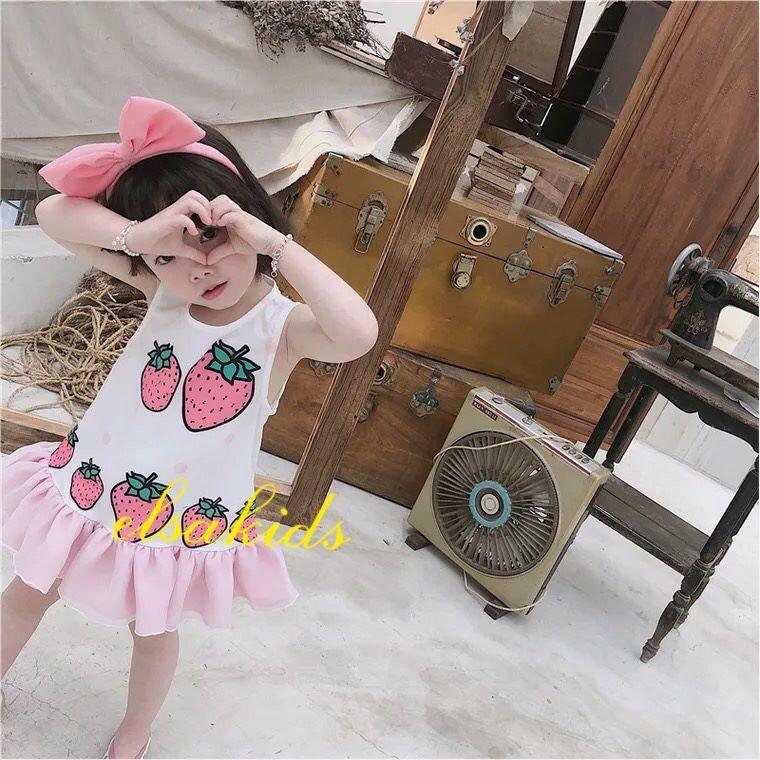 Bộ váy hè hoạ tiết hình thỏ - vải cotton co dãn 4 chiều - cực xinh cho bé gái