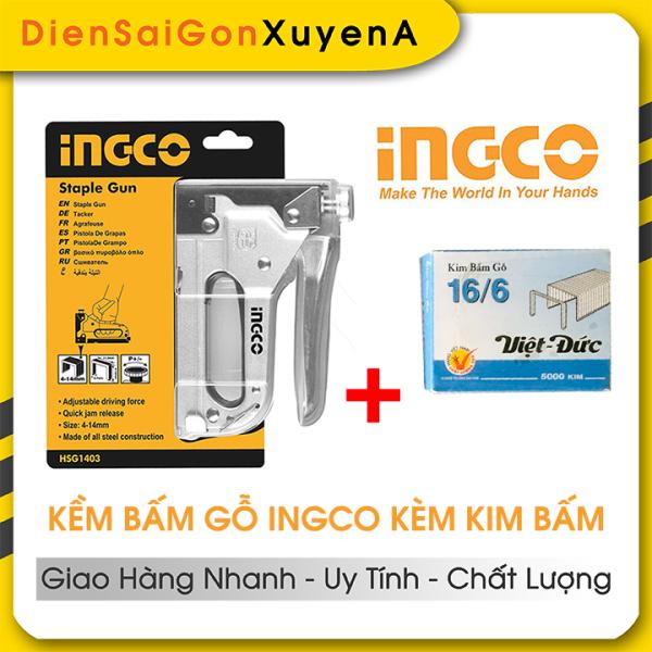 Kìm bấm đinh ghim gỗ điều chỉnh tăng lực 4-14mm Tặng 5000 đinh ghim INGCO HSG1403