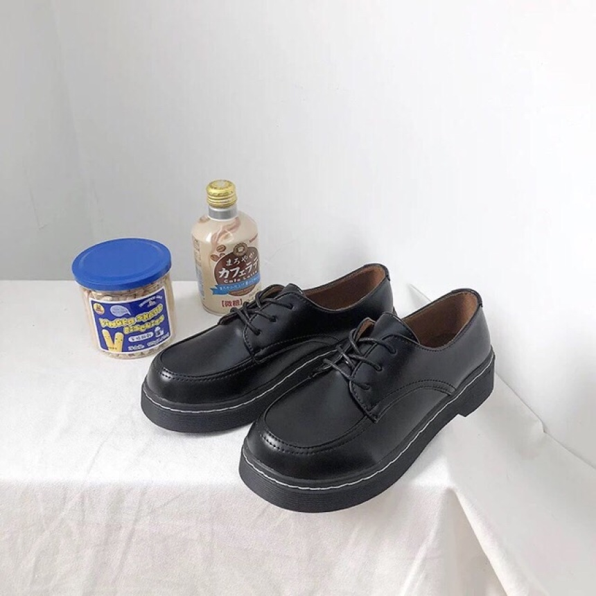 Giày oxford nữ nâu đen buộc dây giá rẻ