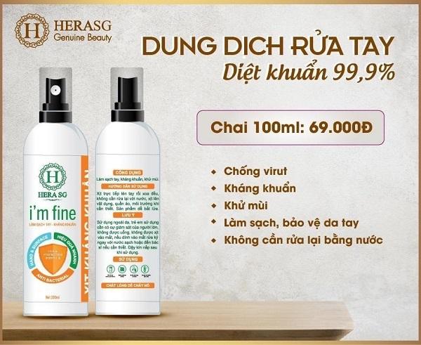 Nước rửa tay khô dạng xịt – Hera I'm Fine (Chai 100ml) Nhãn hiệu: Hera SKU: 901-SGF giá rẻ