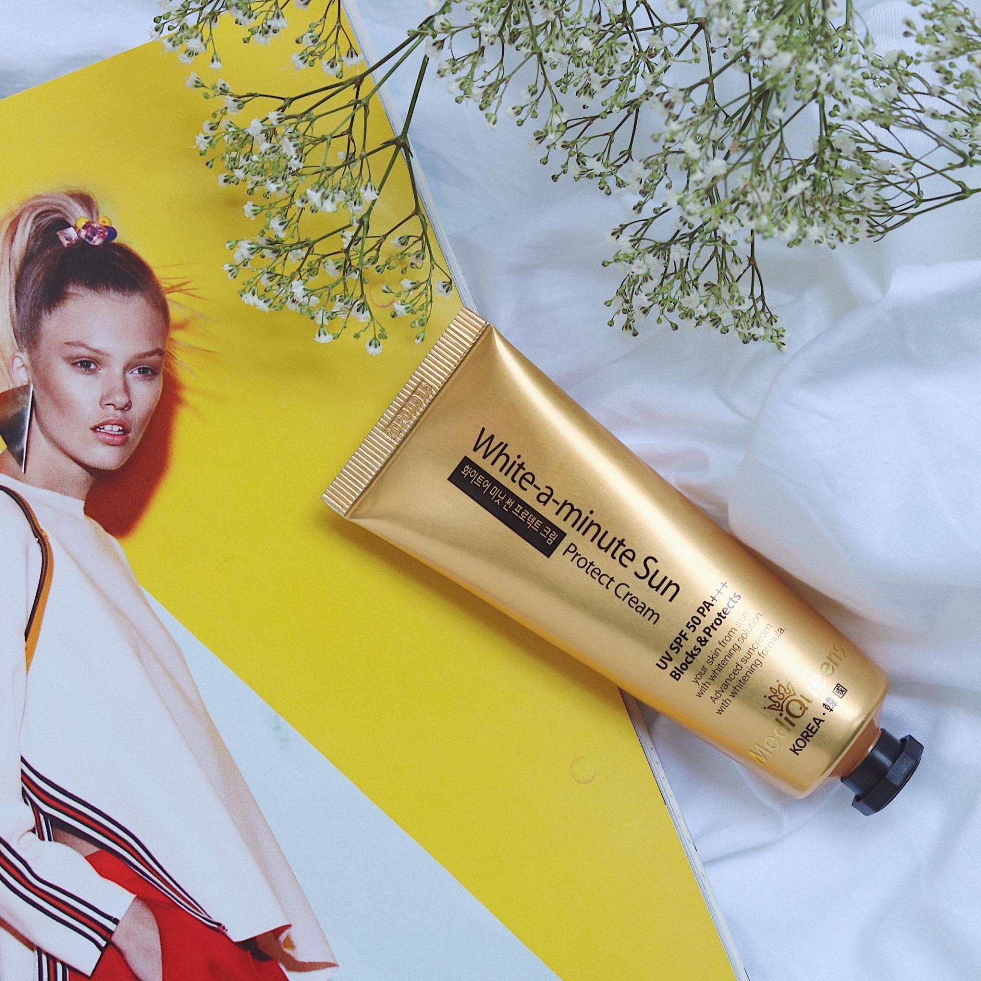 Kem dưỡng da Chống nắng SPF 50 PA +++ Mediqueens Whitening Sun Protect Cream - Hàng nhập khẩu Chính hãng (Tuýp 50g) chính hãng
