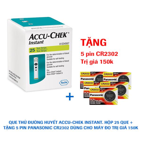 Que thử đường huyết  Accu-Chek Instant. Hộp 25 que + Tặng 5 viên pin Panasonic CR2302 trị giá 150k bán chạy