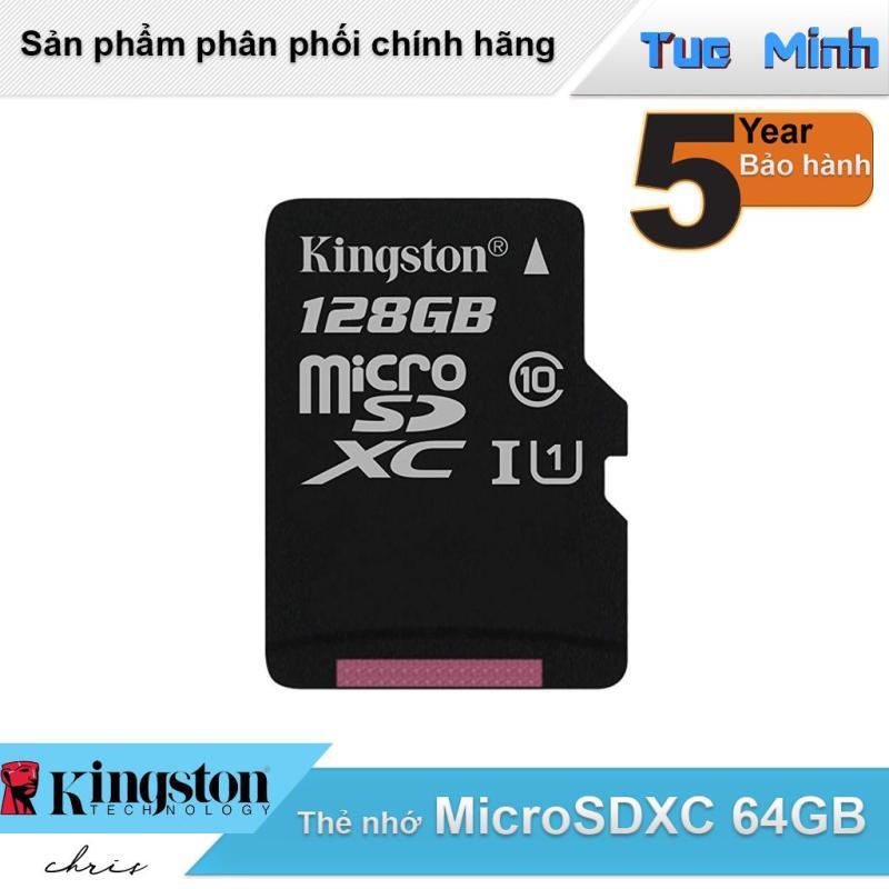 Thẻ nhớ MicroSDXC 128GB Kingston Class 10 USH-I 80MB/s - hàng FPT Synnex phân phối