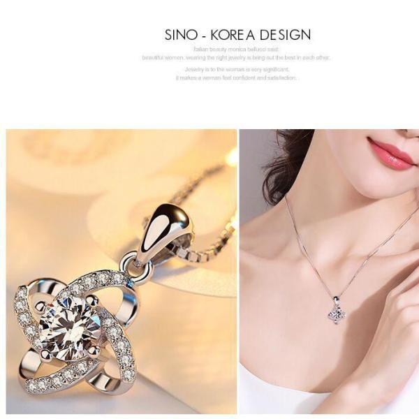 Dây chuyền nữ SINO bạc 925 mặt hoa đính đá thời trang