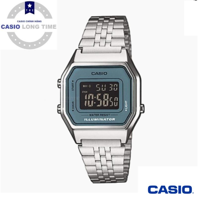 [Ủy Quyền Bởi Casio Anh Khuê]Đồng hồ Casio LA680WA-2BDF Dây kim loại mạ bạc - Mặt viền xanh