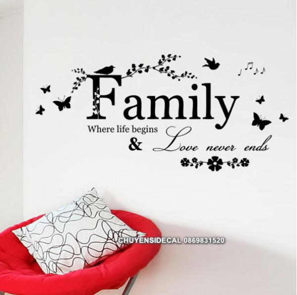Decal trang trí tường - Chữ Tiếng anh FAMILY hoa văn