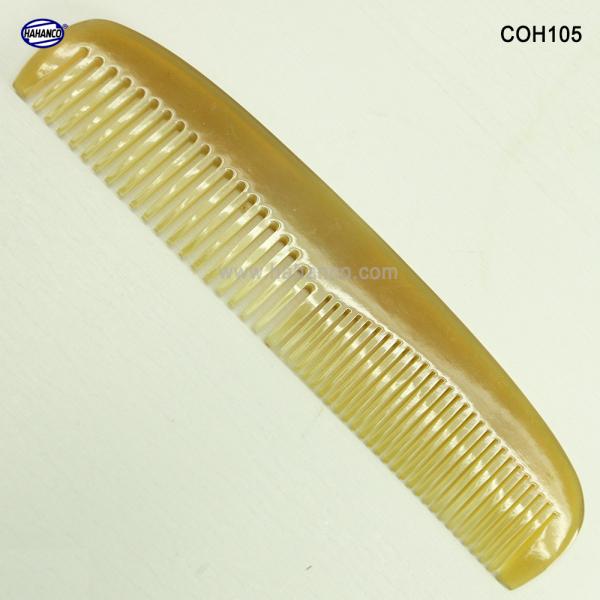 Lược sừng xuất Nhật (Size: M - 15cm) Lược bằng đầu 2 loại răng [COH105] HAHANCO /Chăm sóc tóc