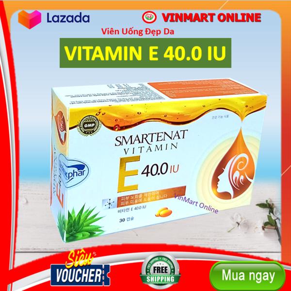 Viên uống đẹp da Vitamin E 40.0 IU - Nhập Khẩu Hàn Quốc- Omega 3 và tinh dầu lô hội làm đẹp da, chống lão hóa, ngừa nếp nhăn - Hộp 30 viên dùng 1 tháng