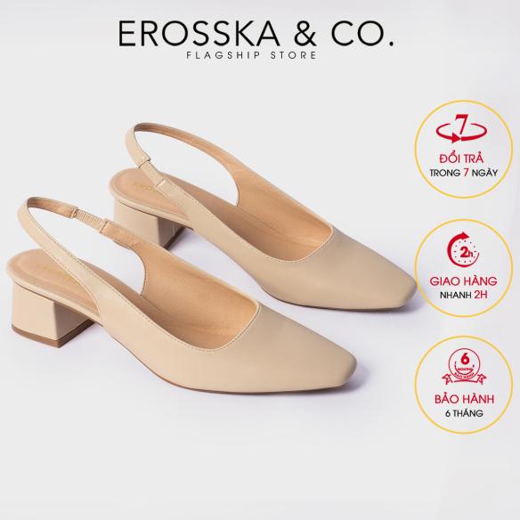 Carl & Ane - Giày cao gót thời trang mũi vuông gót hở phối dây quai mảnh kiểu dáng basic cao 5cm EL016 (NU) giá rẻ
