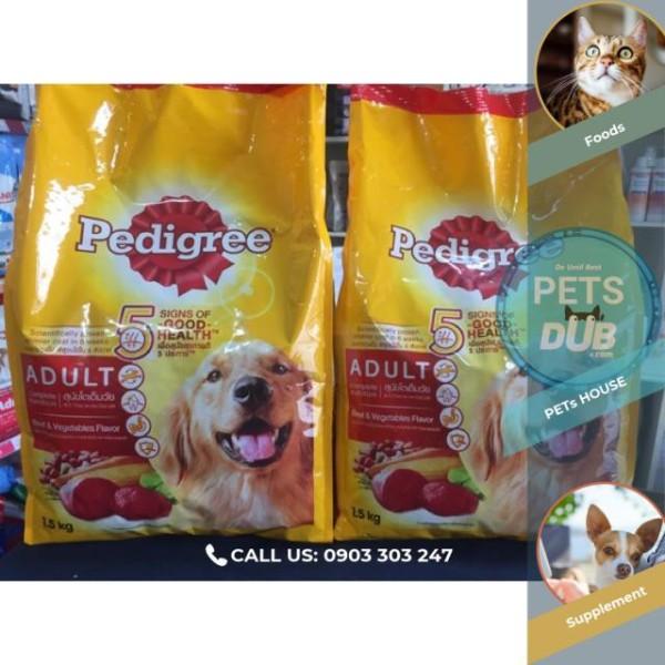 Combo 2 túi Pedigree 1,5kg vị Bò ( Cho chó trên 1 năm tuổi) (PETs dub)