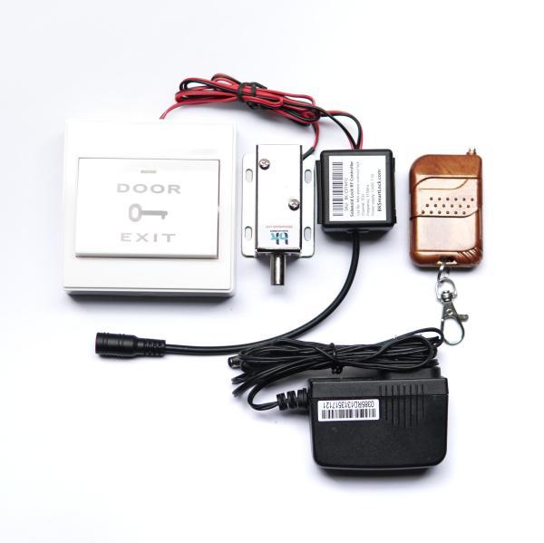 Bộ khóa cửa điện từ BK Smart Lock BK-C06M12, chốt tròn thường đóng D8mm 12V, nút nhấn exit mở cửa bên trong, remote điều khiển 315 Mhz