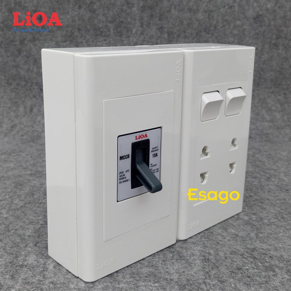 Combo ổ cắm điện đôi 2 chấu 16A (3520W) + 2 công tắc điện LiOA có cầu dao chống quá tải 15A - Lắp nổi