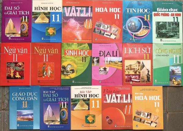 Bộ sách giáo khoa lớp 11 + Sách bài tập toán lý hóa lớp 11 (17 quyển) - không sách tiếng anh