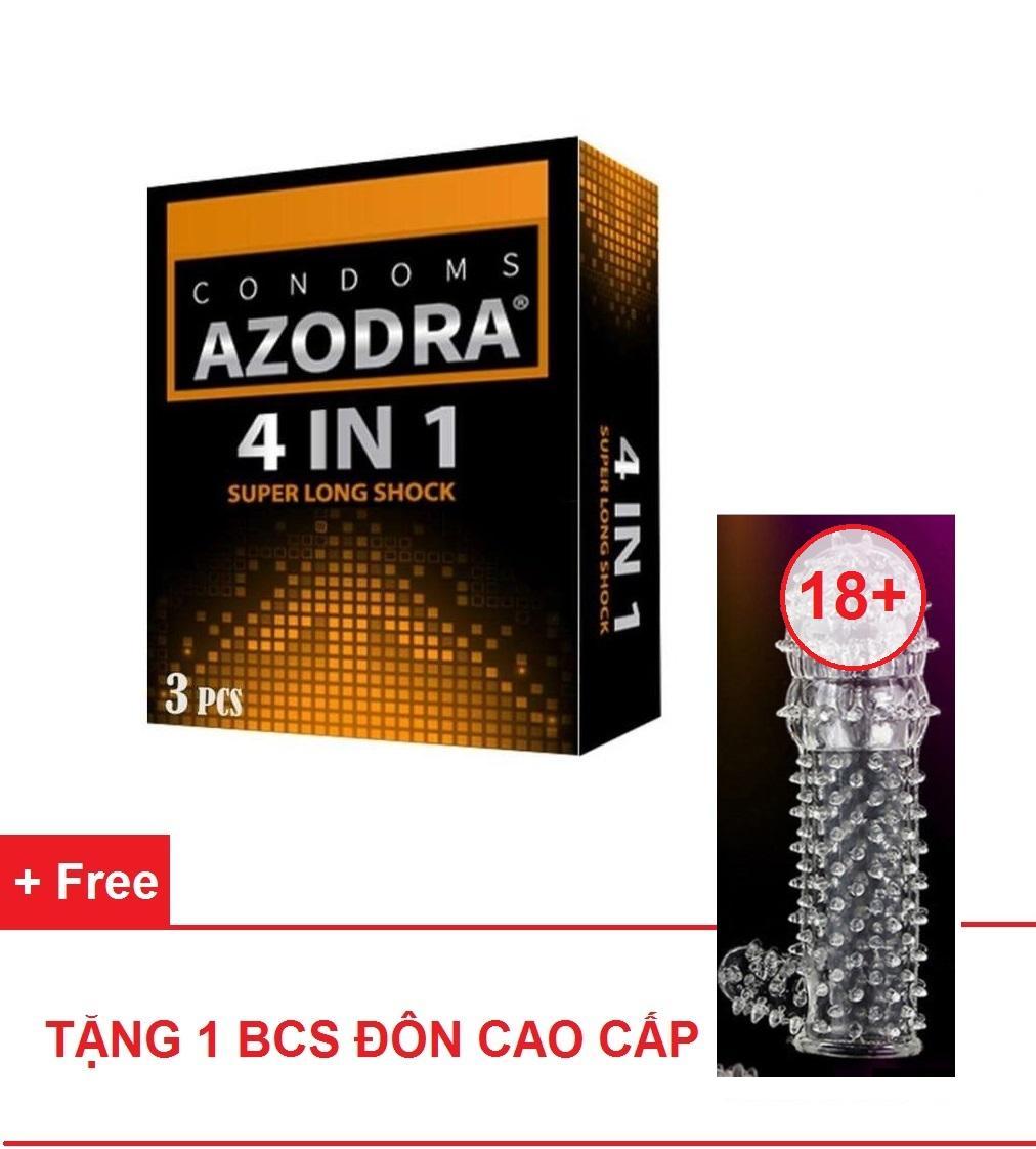 Combo 1 hộp Bao cao su gân gai kéo dài thời gian AZODRA tặng 1 bcs kiểu cao cấp dùng nhiều lần cao cấp