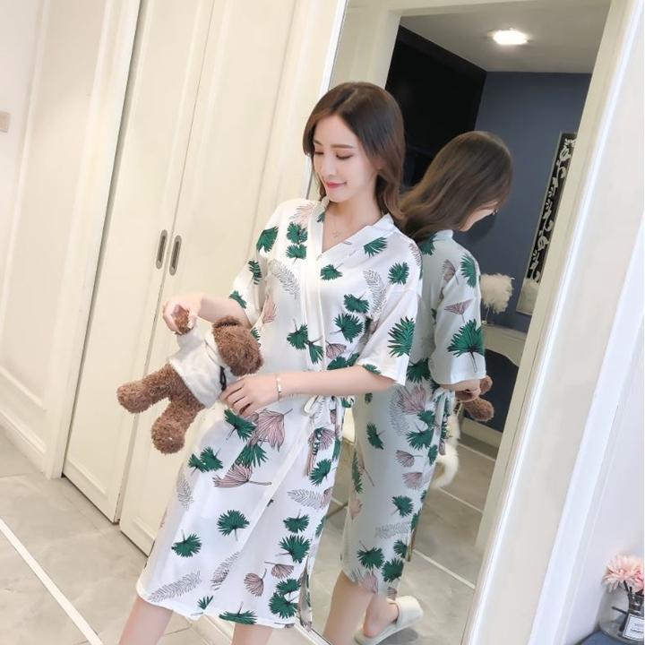 Áo choàng nữ mặc nhà - áo choàng mặc ngủ vải cotton mát mẻ DN014